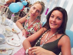 Girls having fun at Blue Baby Shower Tea Party Private Venue
