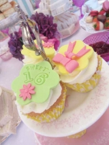 Sweet 16th Birthday Tea Party Cupcakes